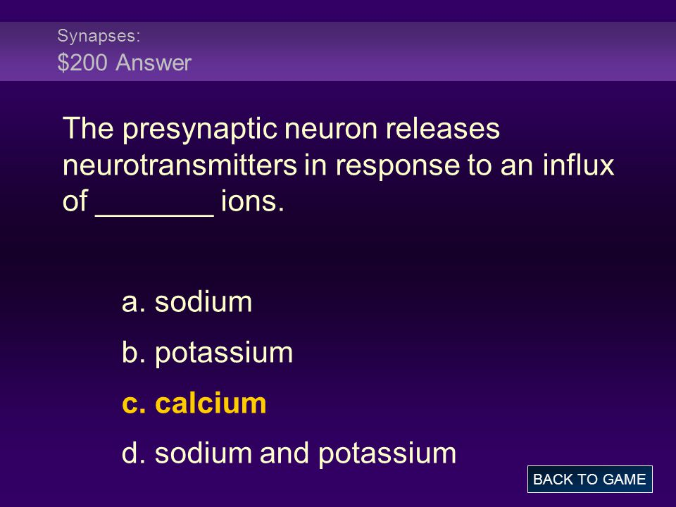 Synapses: $200 Answer The presynaptic neuron releases neurotransmitters in response to an influx of _______ ions.
