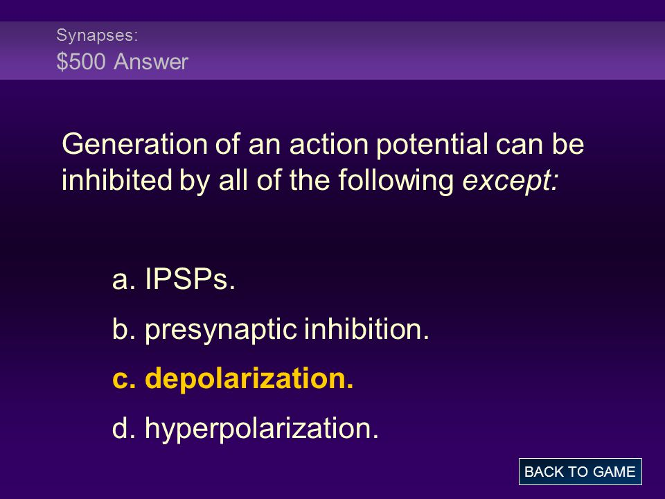 b. presynaptic inhibition. c. depolarization. d. hyperpolarization.