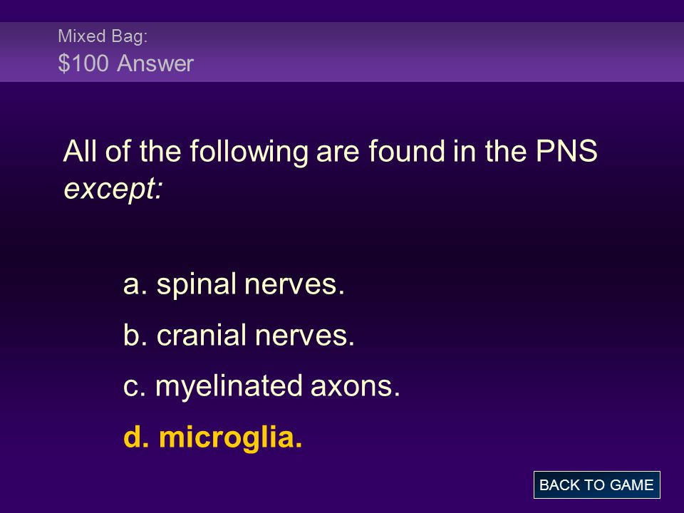 All of the following are found in the PNS except: