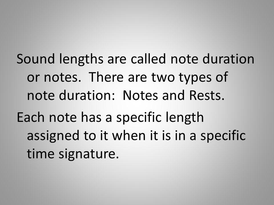 Sound lengths are called note duration or notes