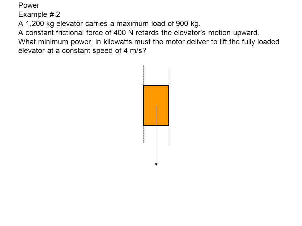 Power Example # 2 A 1,200 kg elevator carries a maximum load of 900 kg