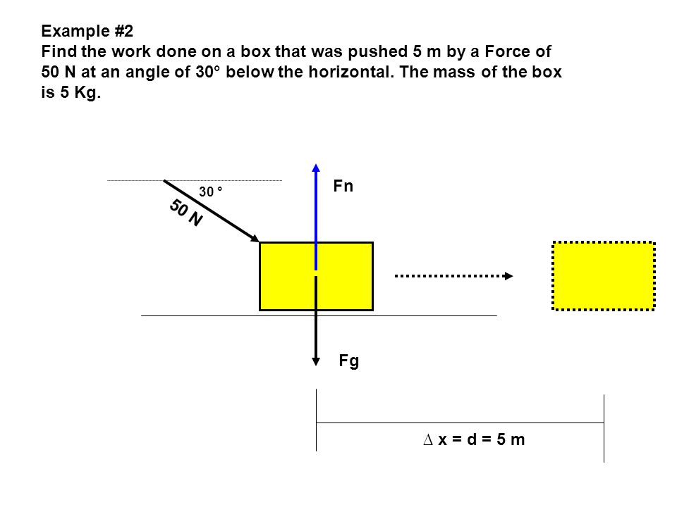 Find the work done on a box that was pushed 5 m by a Force of