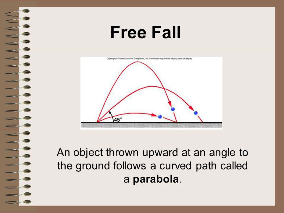 Free Fall An object thrown upward at an angle to the ground follows a curved path called a parabola.