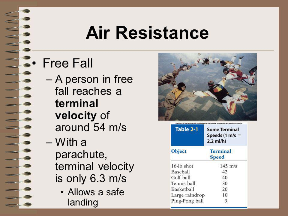 Air Resistance Free Fall