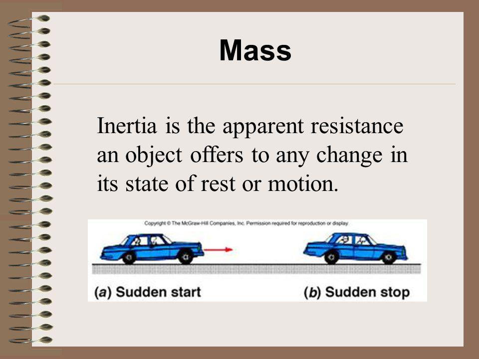 Mass Inertia is the apparent resistance an object offers to any change in its state of rest or motion.