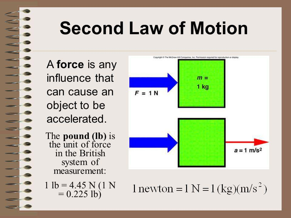 Second Law of Motion A force is any influence that can cause an object to be accelerated.