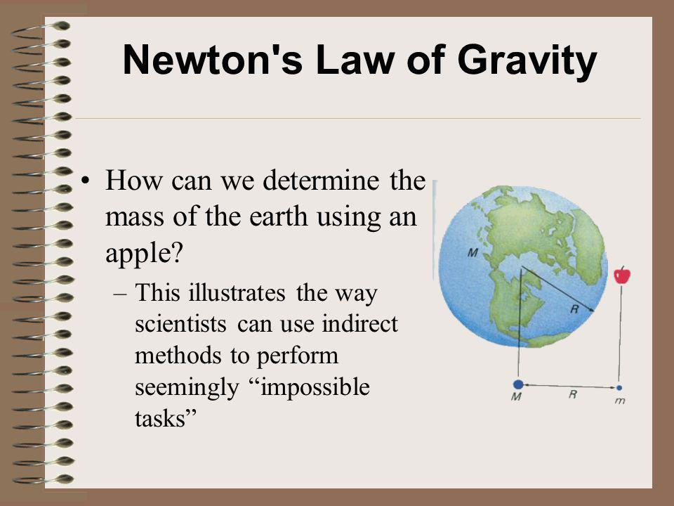 Newton s Law of Gravity How can we determine the mass of the earth using an apple