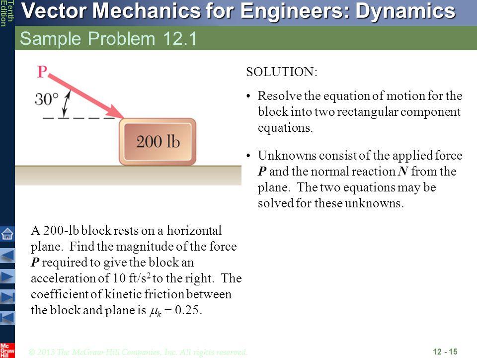Sample Problem 12.1 SOLUTION: