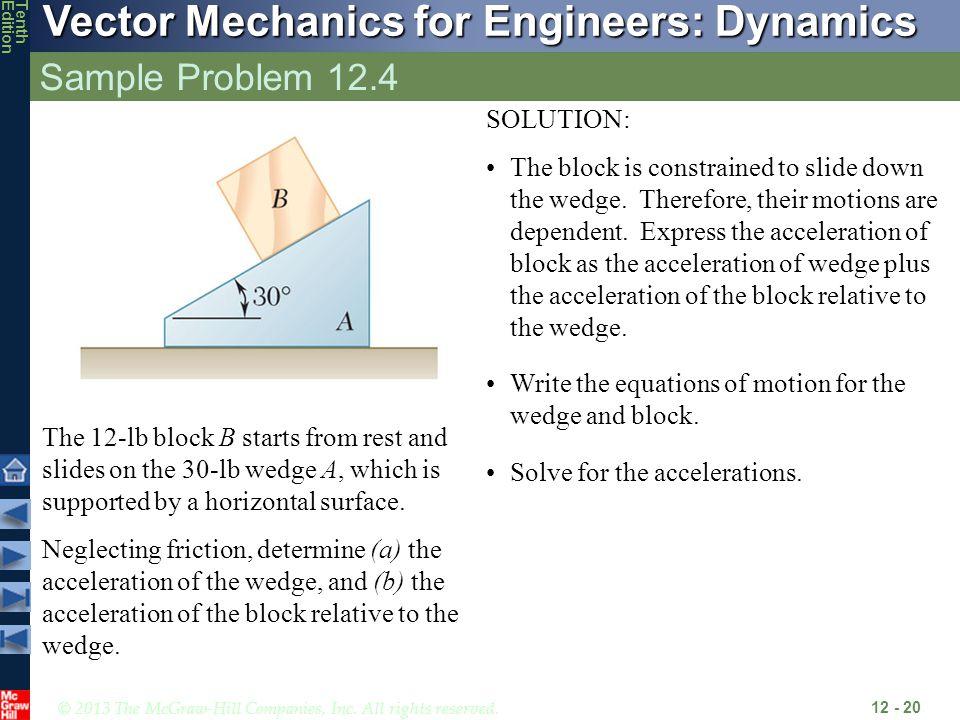 Sample Problem 12.4 SOLUTION: