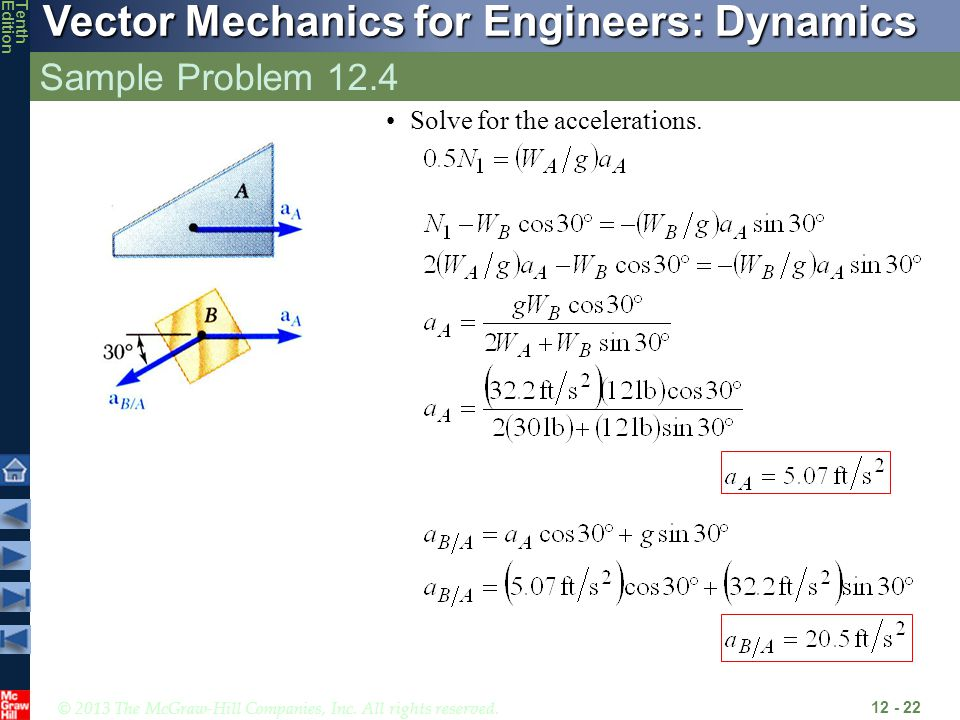 Sample Problem 12.4 Solve for the accelerations.