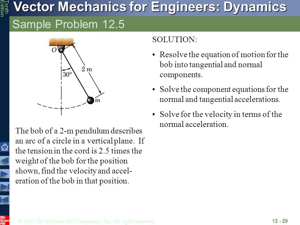 Sample Problem 12.5 SOLUTION: