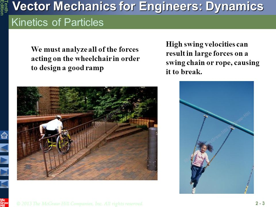 Kinetics of Particles High swing velocities can result in large forces on a swing chain or rope, causing it to break.