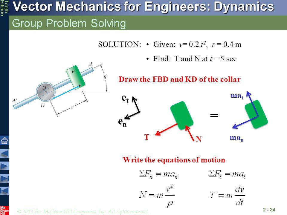 = Group Problem Solving et en SOLUTION: Given: v= 0.2 t2, r = 0.4 m