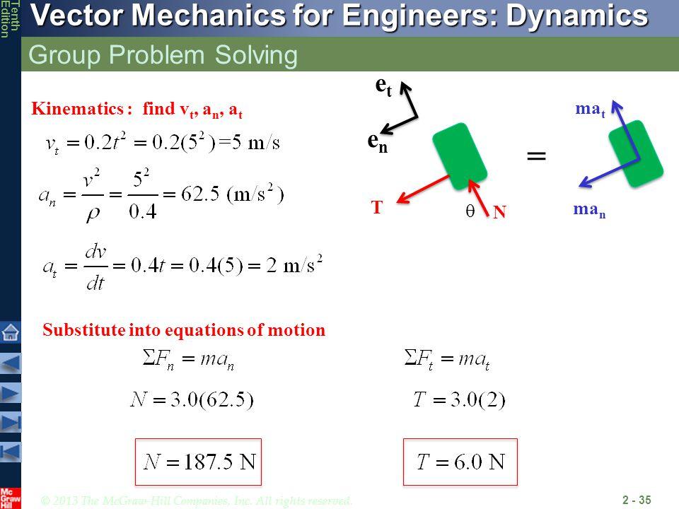 = Group Problem Solving et en Kinematics : find vt, an, at mat T q man