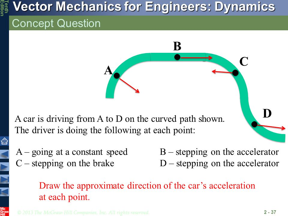 Concept Question D. B. C. A. A car is driving from A to D on the curved path shown. The driver is doing the following at each point: