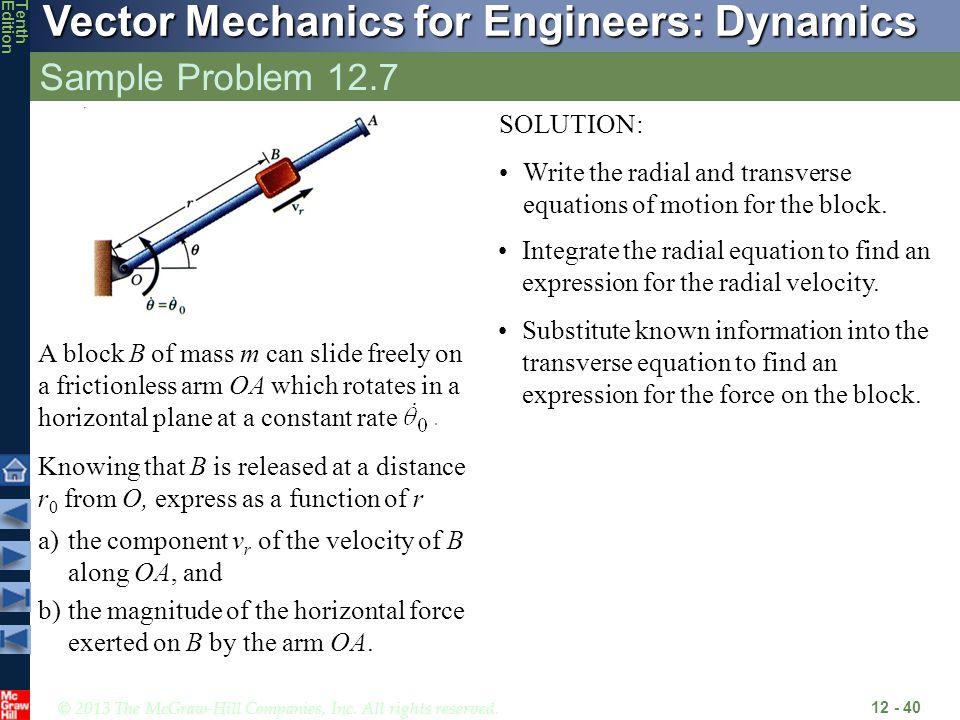 Sample Problem 12.7 SOLUTION: