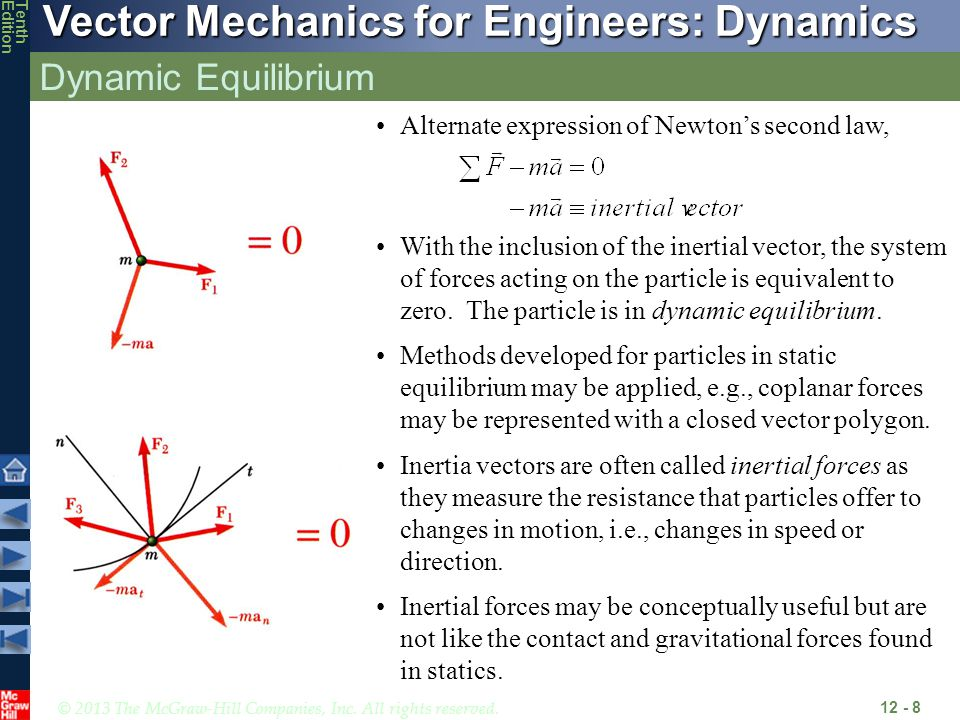 Dynamic Equilibrium Alternate expression of Newton's second law,