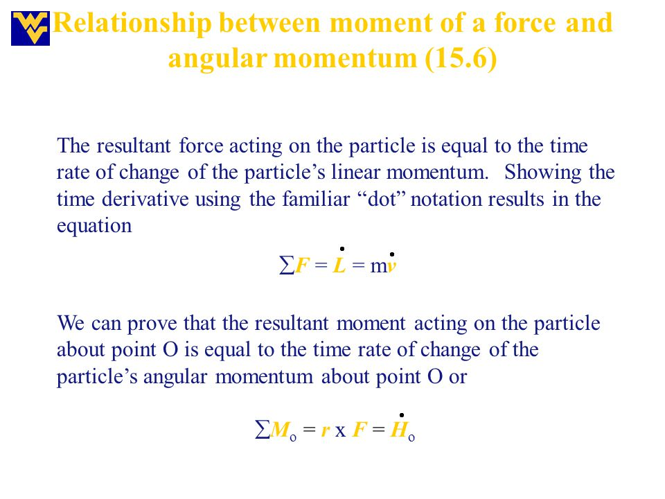 Relationship between moment of a force and angular momentum (15.6)
