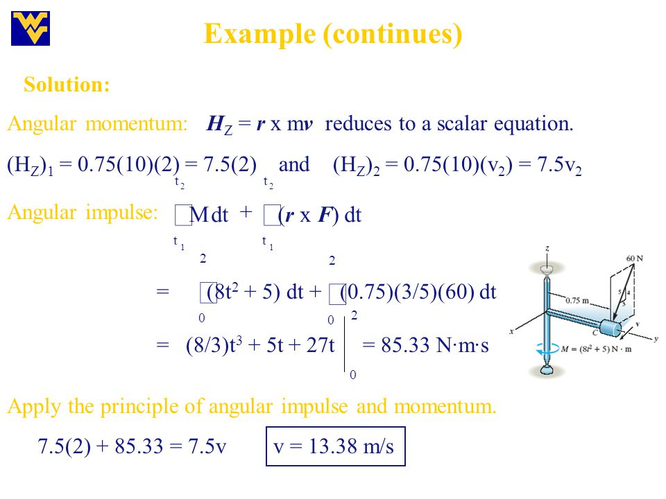 ò Example (continues) dt M (r x F) Solution: