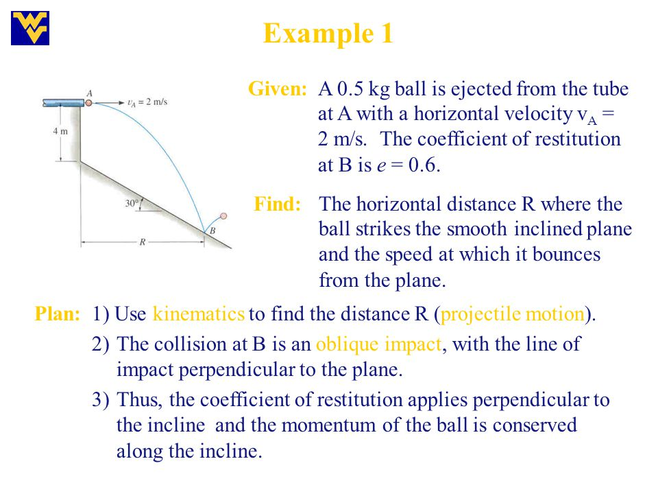 Example 1 Given: A 0.5 kg ball is ejected from the tube at A with a horizontal velocity vA = 2 m/s. The coefficient of restitution at B is e = 0.6.