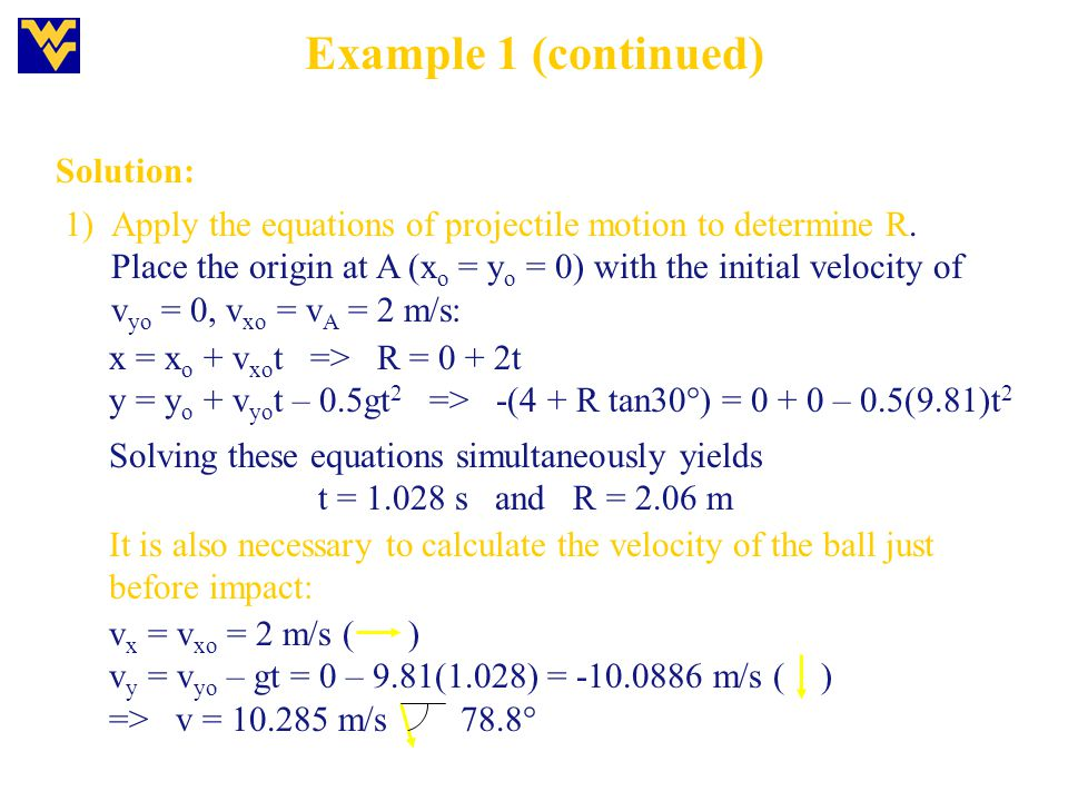 Example 1 (continued) Solution: