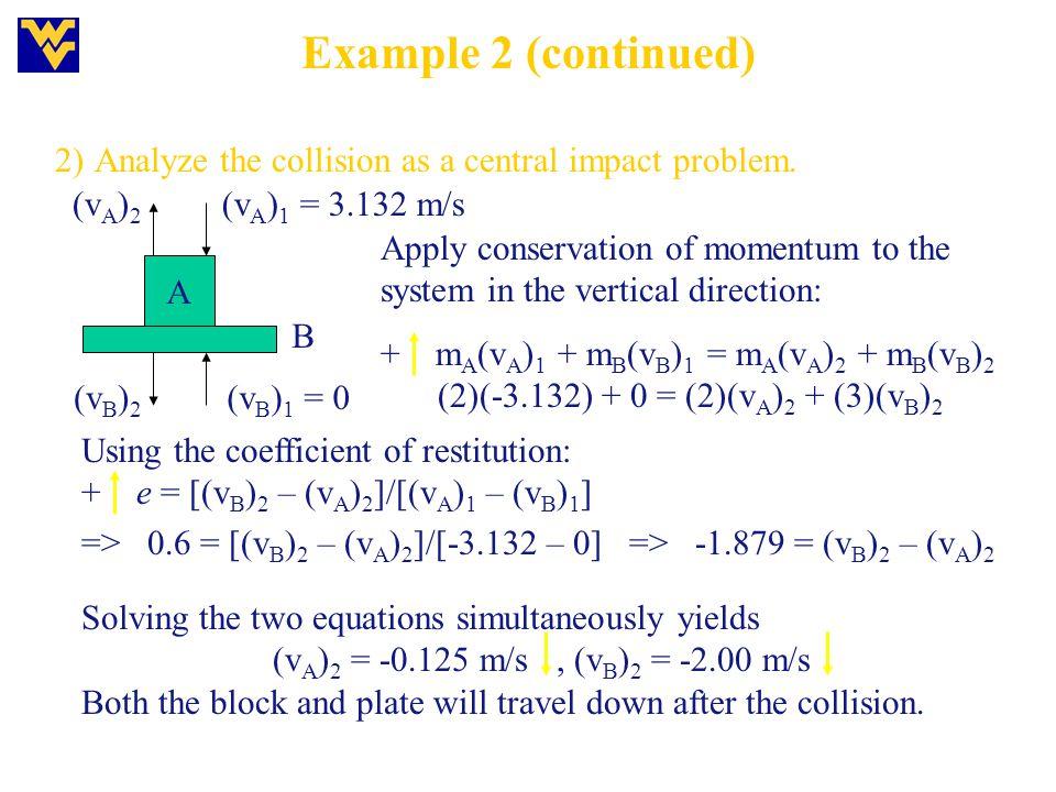 (2)(-3.132) + 0 = (2)(vA)2 + (3)(vB)2
