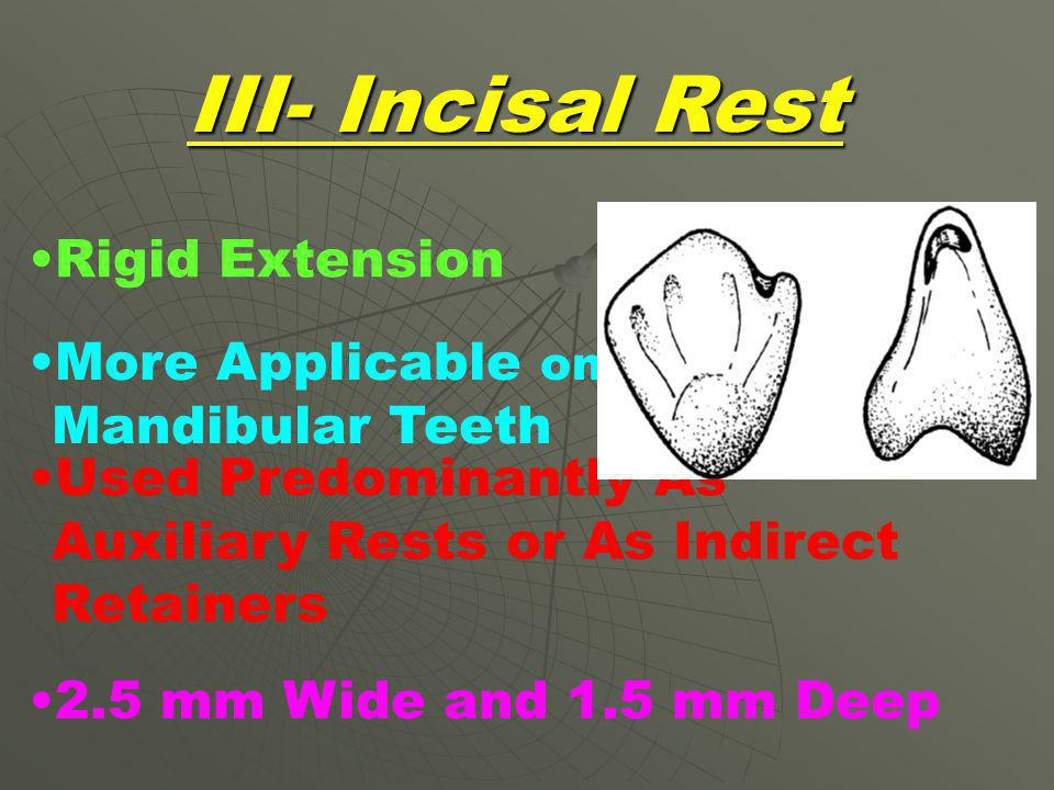 III- Incisal Rest Rigid Extension More Applicable on Mandibular Teeth