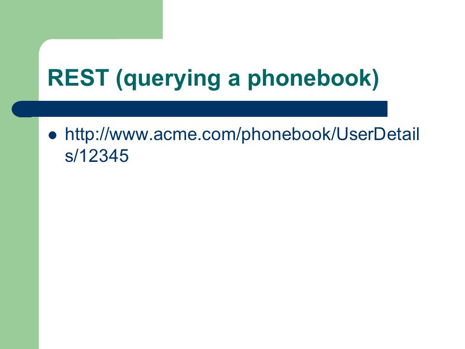 REST (querying a phonebook)