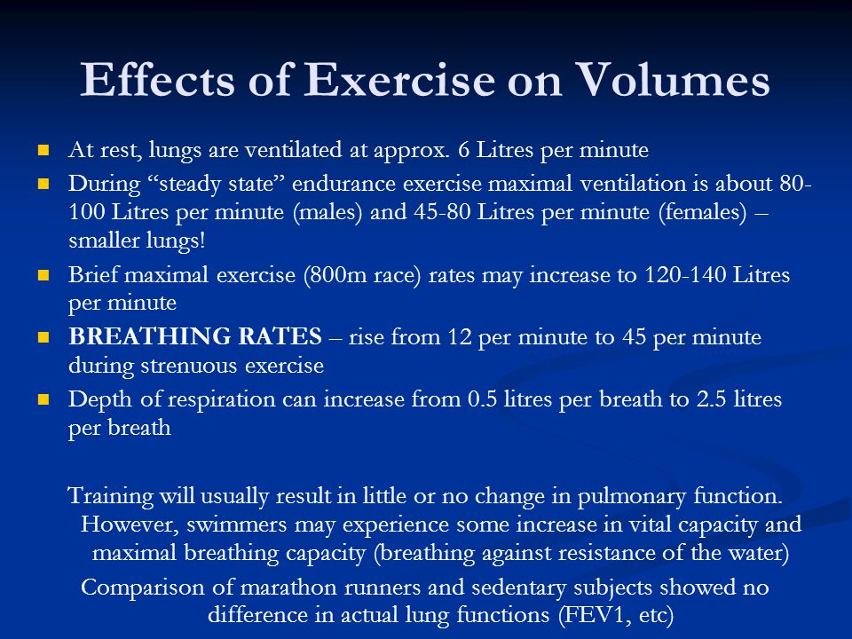 Effects of Exercise on Volumes