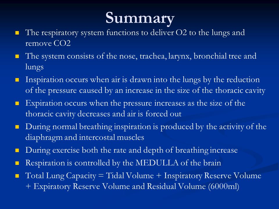Summary The respiratory system functions to deliver O2 to the lungs and remove CO2.