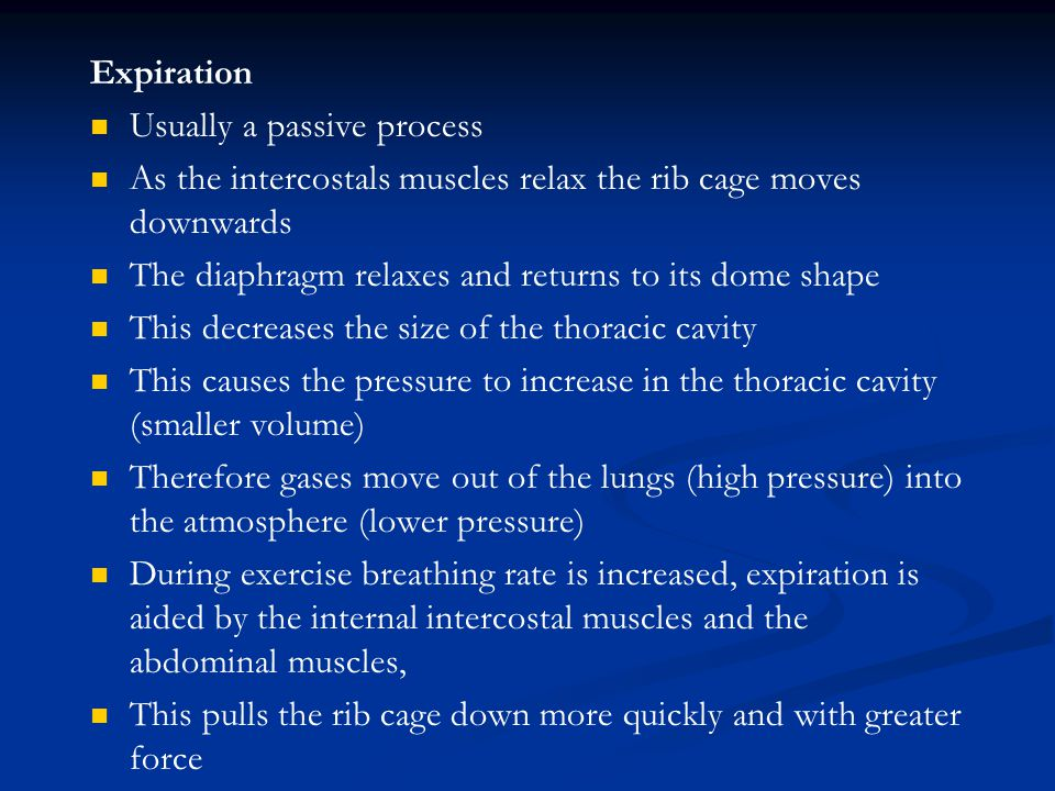 Expiration Usually a passive process. As the intercostals muscles relax the rib cage moves downwards.