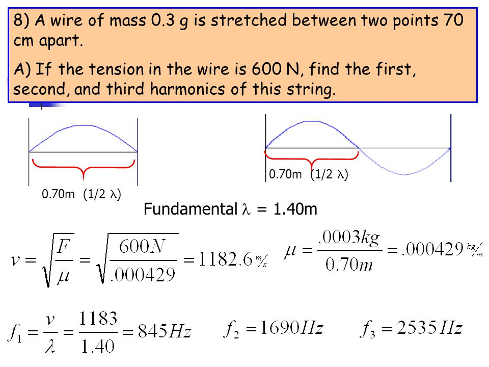 8) A wire of mass 0.3 g is stretched between two points 70 cm apart.