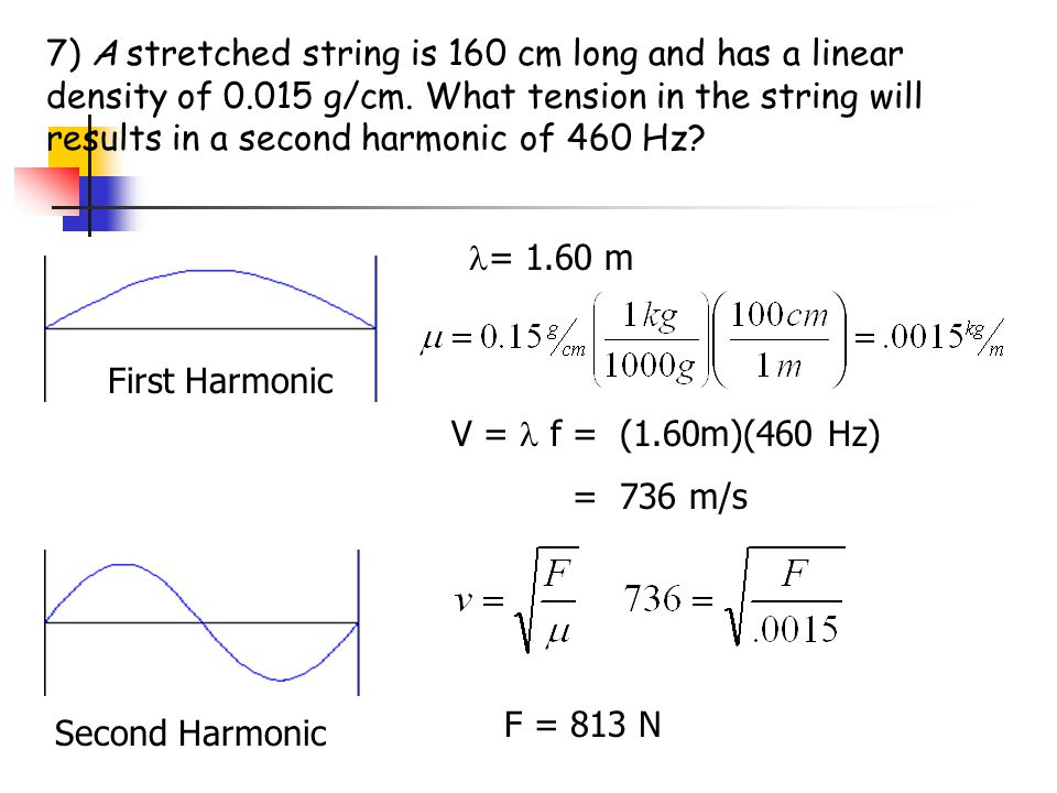 7) A stretched string is 160 cm long and has a linear density of 0