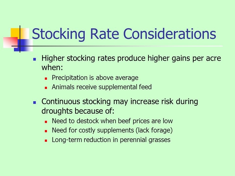 Stocking Rate Considerations