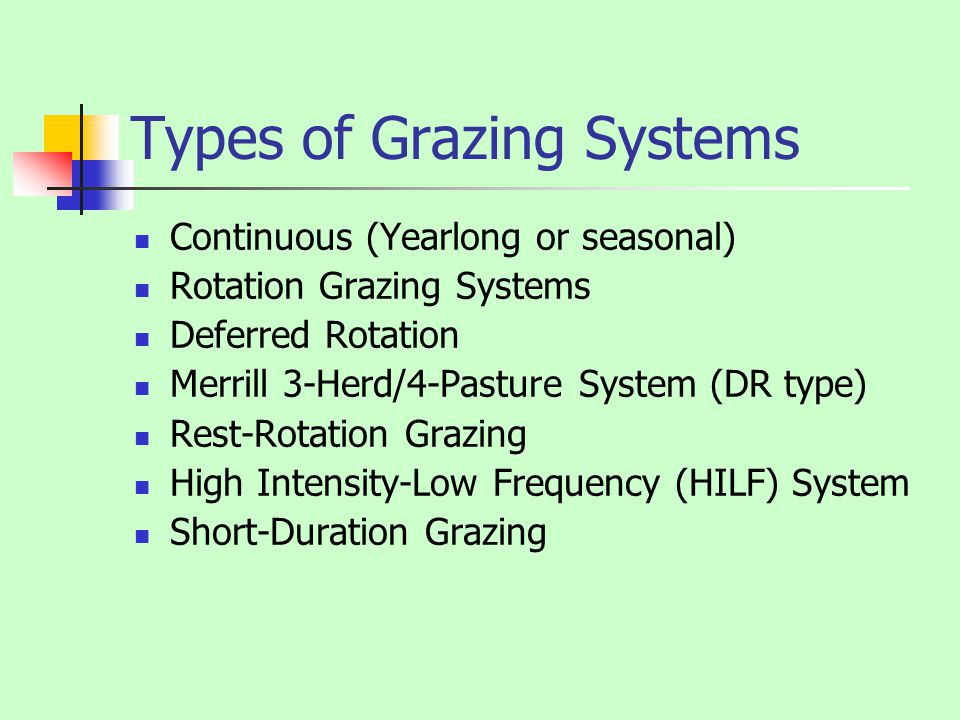 Types of Grazing Systems