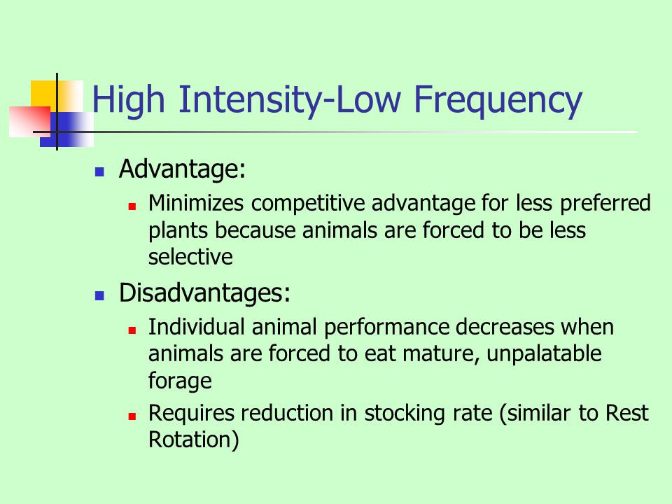 High Intensity-Low Frequency