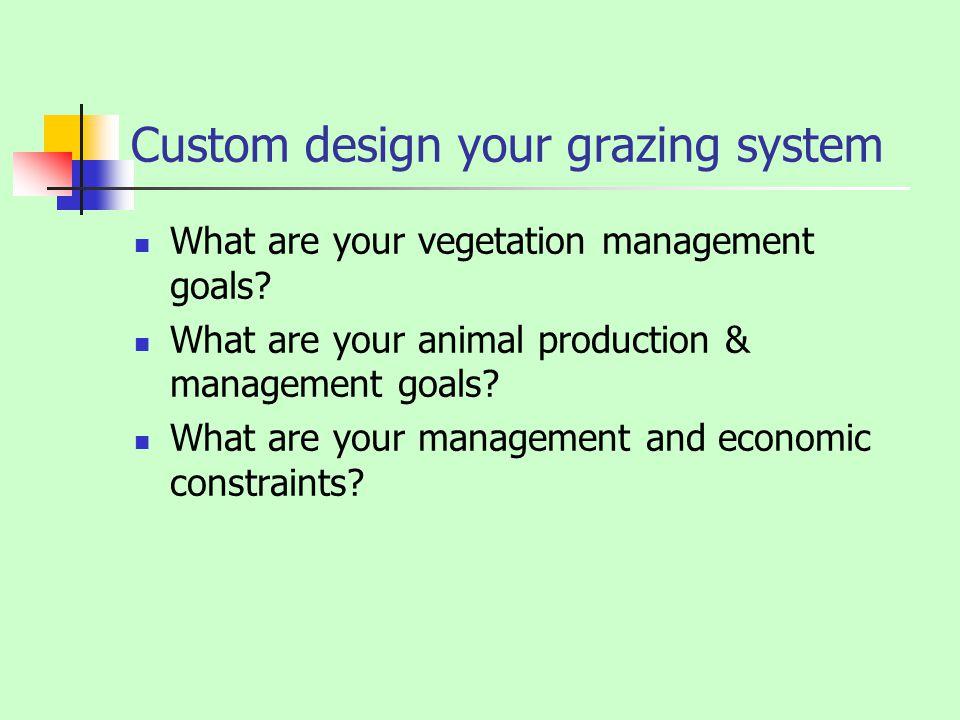 Custom design your grazing system