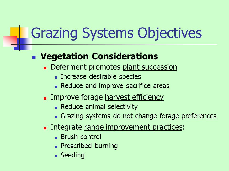 Grazing Systems Objectives