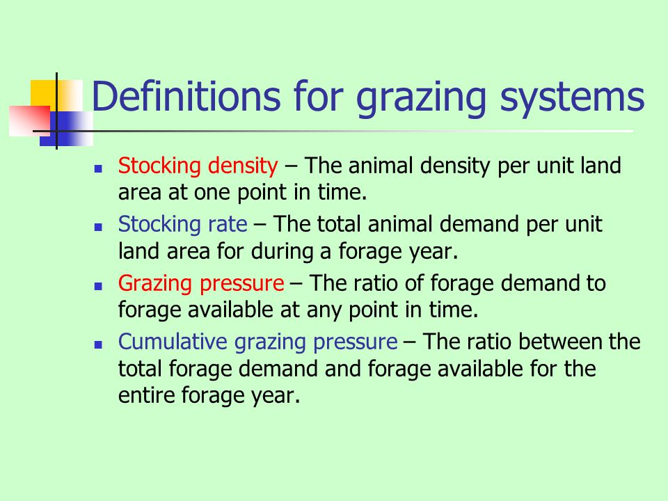 Definitions for grazing systems