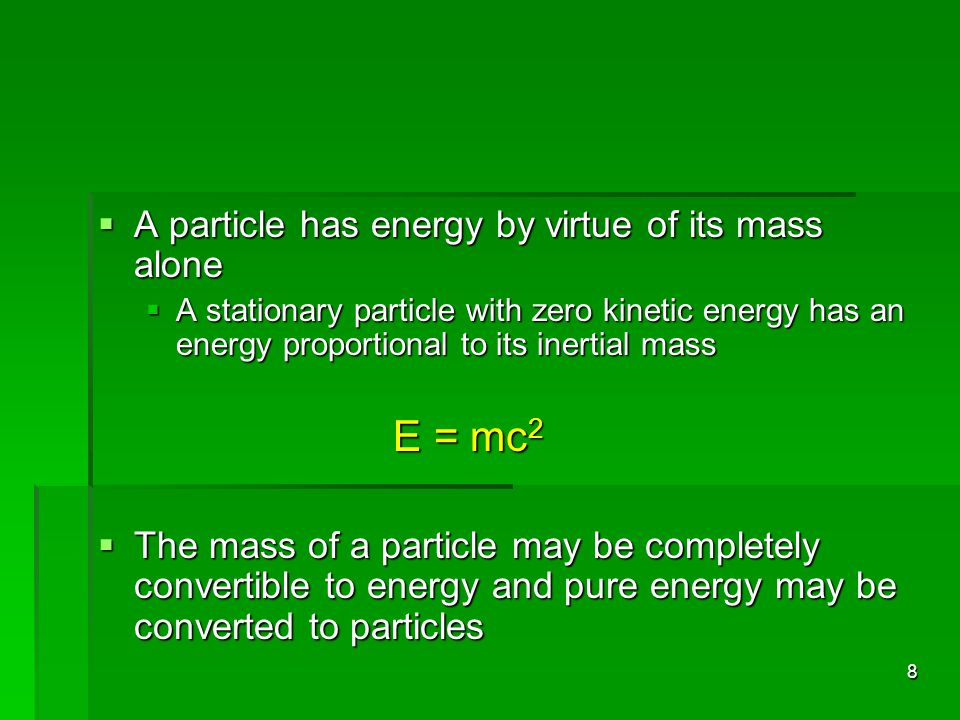 A particle has energy by virtue of its mass alone