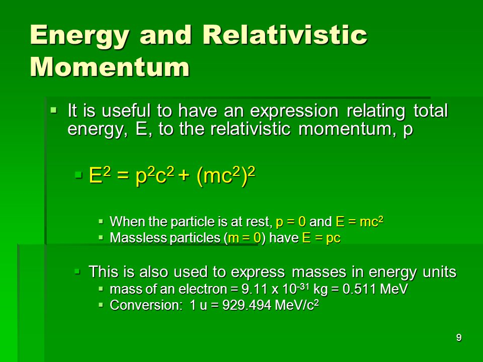 Energy and Relativistic Momentum