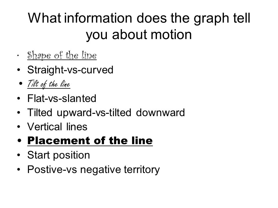 What information does the graph tell you about motion