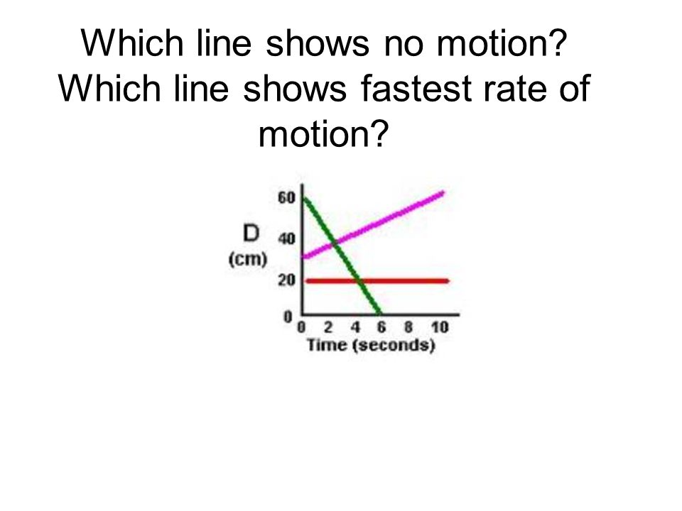 Which line shows no motion Which line shows fastest rate of motion