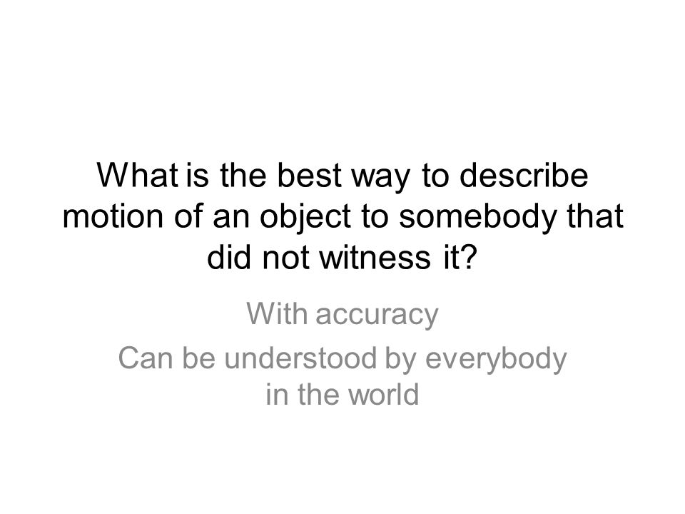 With accuracy Can be understood by everybody in the world