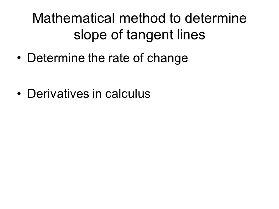 Mathematical method to determine slope of tangent lines