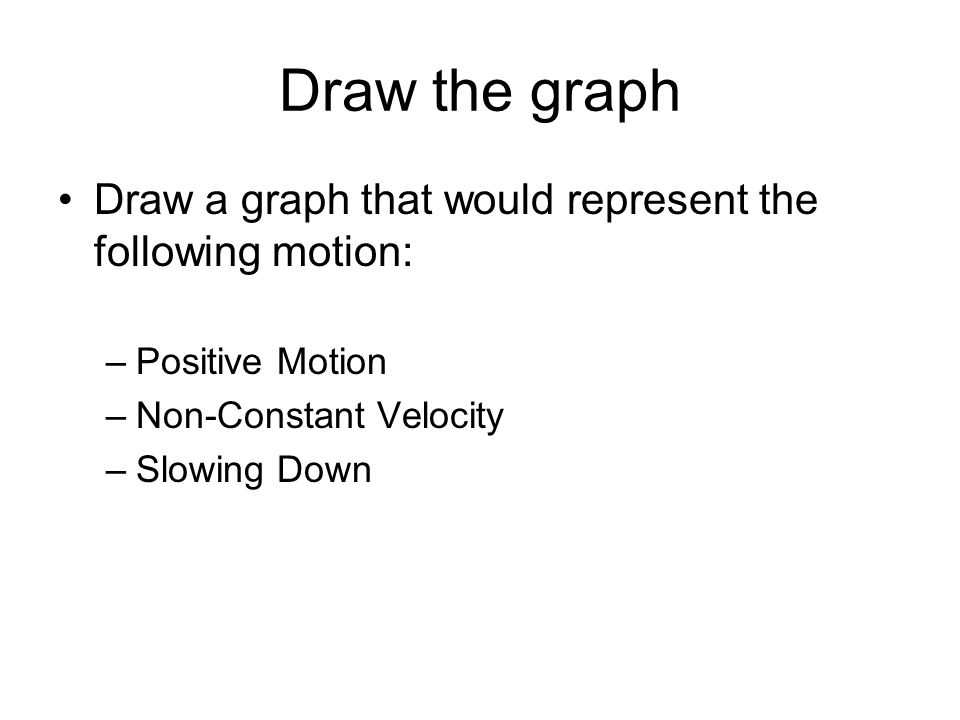 Draw the graph Draw a graph that would represent the following motion: