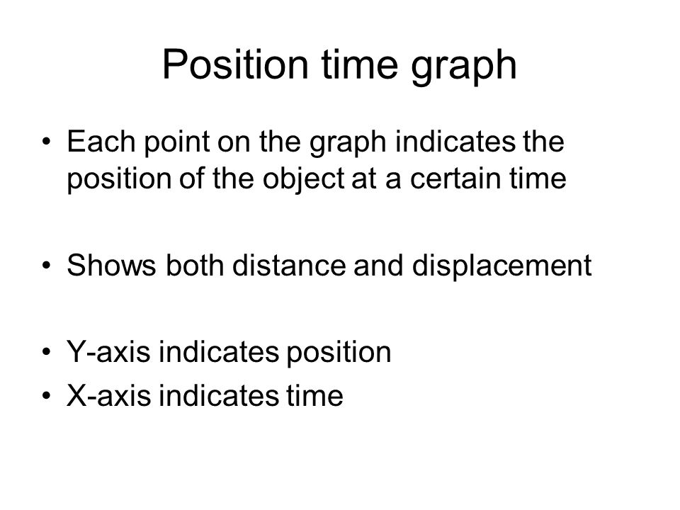 Position time graph Each point on the graph indicates the position of the object at a certain time.