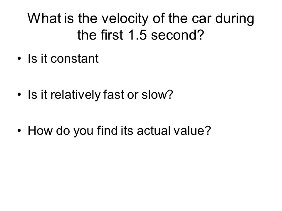 What is the velocity of the car during the first 1.5 second