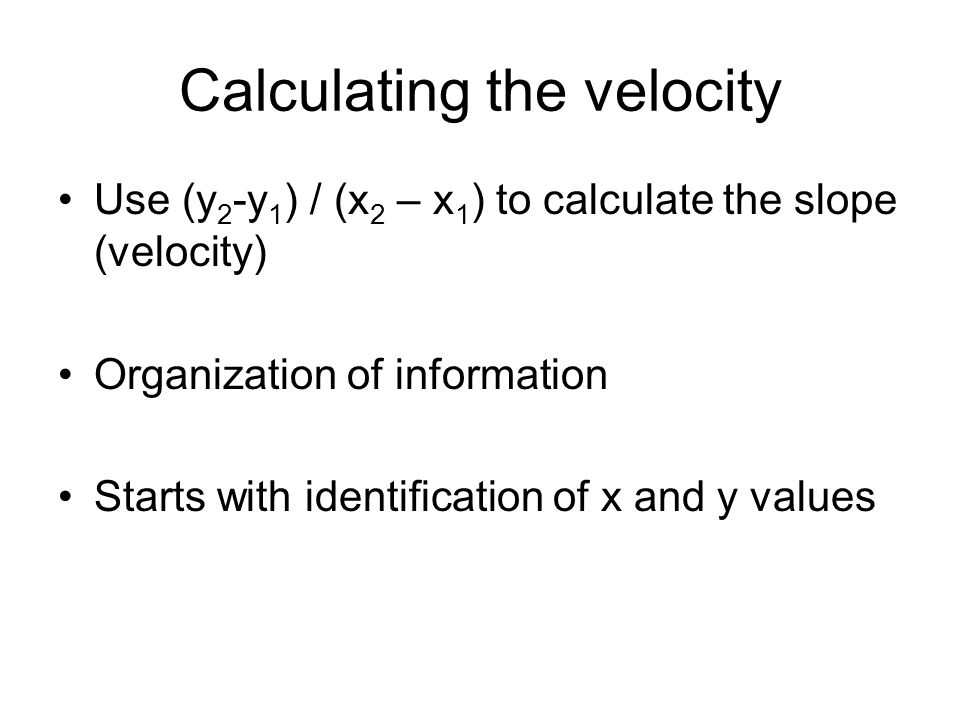 Calculating the velocity