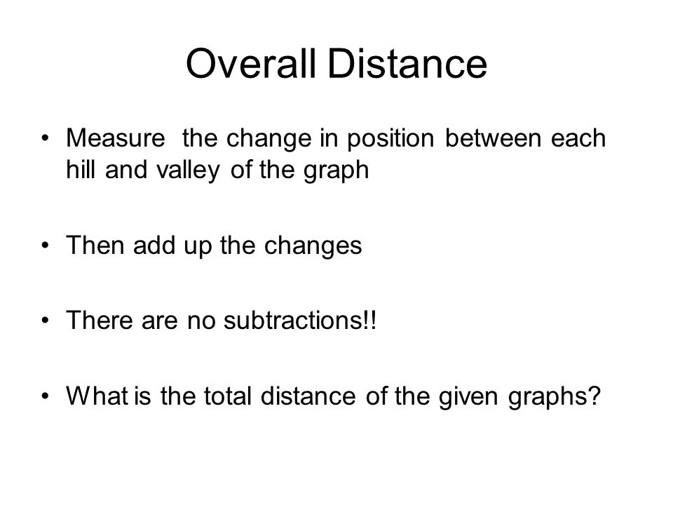 Overall Distance Measure the change in position between each hill and valley of the graph. Then add up the changes.